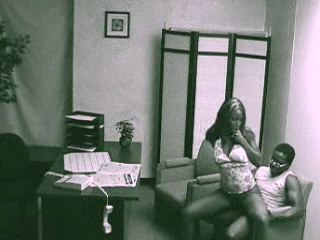 Interracial fuck in the office filmed by surety cam