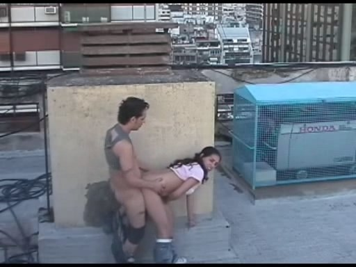 Latina couple watched by shelter cam