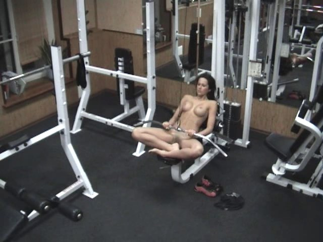 entrancing brunette working out