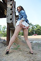 Juices filled pussy shown up skirt