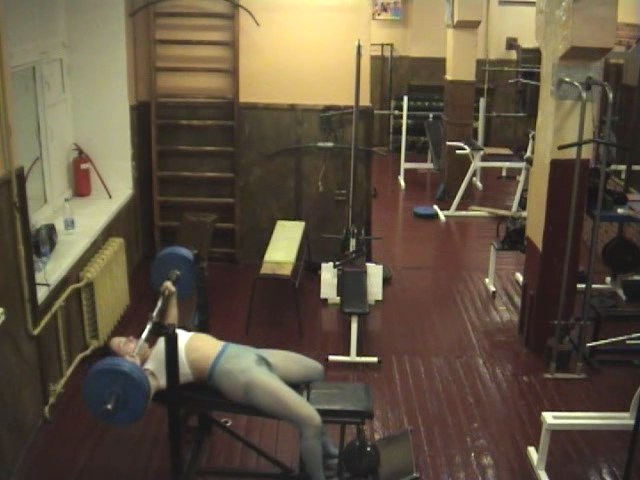 Crazy chick playing in the gym!